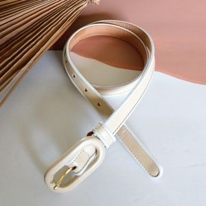 Vintage Retro MOD WORTH Leather White Skinny Belt